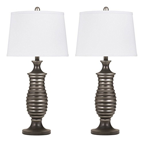 Signature Design by Ashley – Rory Table Lamps – Contemporary – Set of 2 – Antique Silver Finish