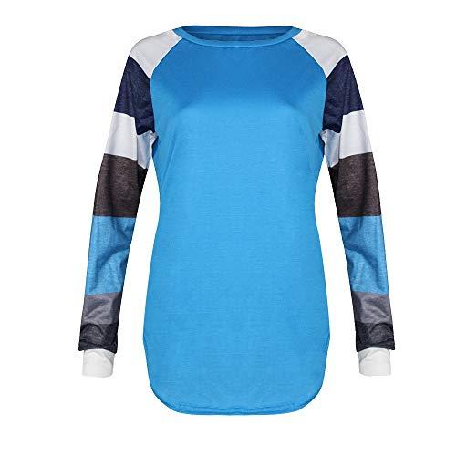 Pull T Rond Bleu lache femme Longues Pull Shirt sexy Contraste Femme LANSKIRT Haut Col Sweat Shirt Manches Femme Chemisier Femme Chic UzRqHFPw