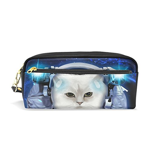 ALAZA Star Pencil Pouch Case Chic Cat Astronaut Makeup Cosmetic Bag Pen Holder for Kids Teens Boys and - By Astronauts Sunglasses Used