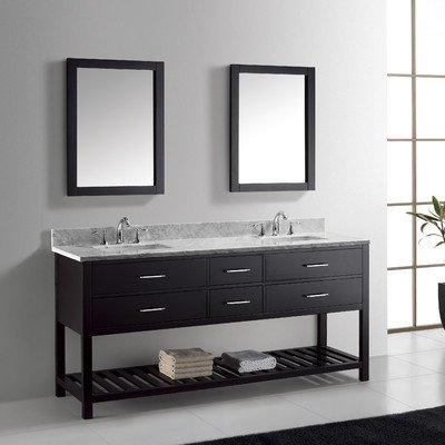 Virtu Usa Md 2272 Wmsq Es Transitional 72 Inch Double Sink Bathroom Vanity Set  Espresso