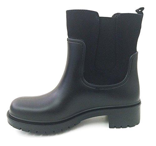 Rain Boots Shoes Fashion Goring SJD Snow Garden Elastic Ankle A Brown Band Rubber Short Black Black Women's Khaki xf4qEEwtp