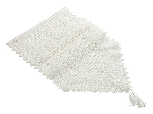 Milesky Embroidery Lace Table Runner Solid Color (Cross White, 16x72