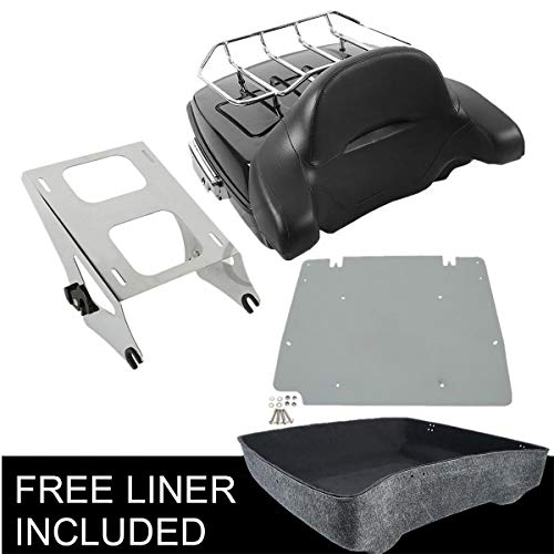 TCMT Chopped Tour Pak Pack Trunk Backrest Rack Fits For Harley Touring Electra Glide 2014-2019 (Style J Chrome)