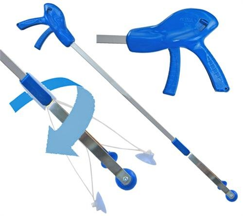 """ArcMate E-Z Reacher Pro Plus, Indoor Reacher Grabber with Thumb Lock, 90 Degree Swivel, 6lb. Capacity, 4.5"""" Wide Fingers with Cups, Heat Resistant Food Grade Silicone Tips, Blue, 32"""" (32PP)"""