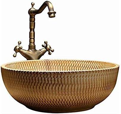 バスルームラウンド洗面台レトロセラミックホテルアンチスプラッシュ洗面浴室のシンクの蛇口1セット