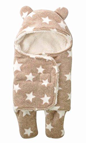UNIQUEONE Newborn Boys Girls Cute Sleeping Bag Sack Romper Fleece Stars Sleepwear Swaddle Bodysuit Size 0-3Months (Brown)