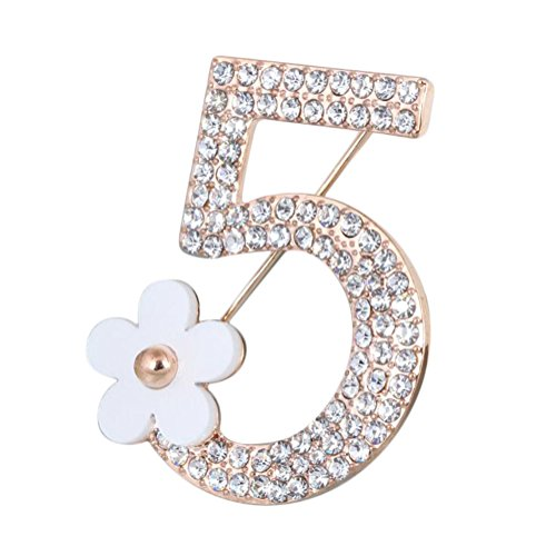 Hosaire Brooch Pin Number Five Pin Brooch Corsage Scarf pin Rhinestones Breastpin for Wedding/Banquet/Bouquet