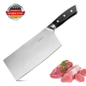 Meat Cleaver Butcher Knife Chinese Chef Knife Chopper 7 Inch German High Carbon Stainless Steel Forged Blade Ultra Sharp Ergonomic Handle Non Slip Multi Purpose Kitchen Knife