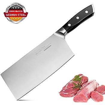 7InchCleaver,Chinese Butcher Knife GermanHighCarbonStainlessSteel Kitchen Knife withErgonomicHandleforKitchenandRestaurant