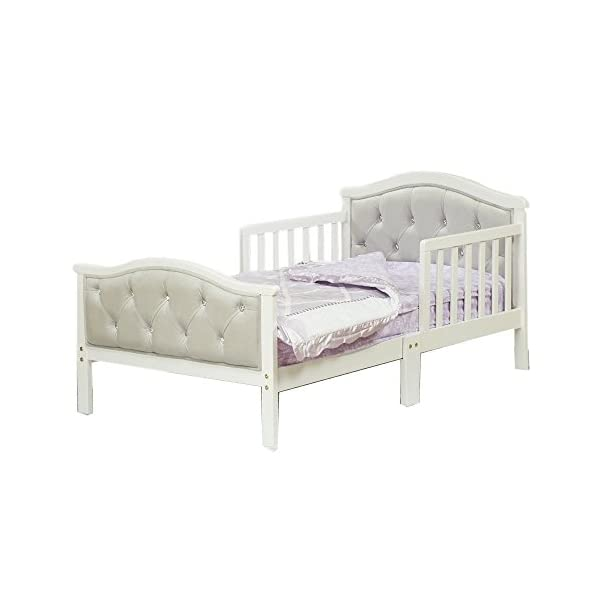Toddler Bed with Soft Tufted Headboard, Kids Wood Bed Frame with Half Side Rails 1