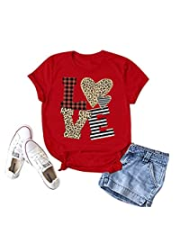 CGKUITER Buffalo Plaid Love Shirt Womens Valentines Day T Shirt Short Sleeve Heart Print Shirt Casual O Neck Top Tee