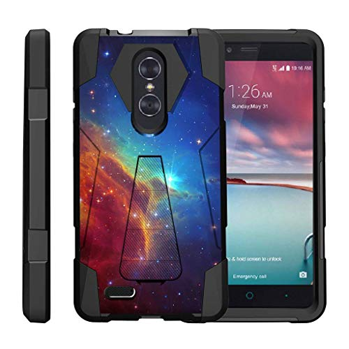 TurtleArmor | Compatible for ZTE ZMax Pro Case | ZTE Blade X Max Case [Dynamic Shell] Hybrid Dual Layer Hard Shell Kickstand Silicone Case - Colorful Nebula Galaxy