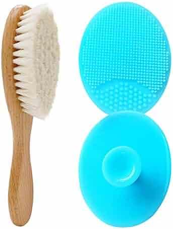 2 Pack Silicone Baby Bath Brush + Wool Sponge Brush - Washcloths Cradle Cap Fit for Wash,Bath and Shampoo