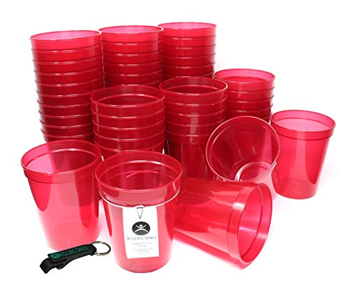 Rolling Sands 16oz Reusable Plastic Stadium Cups Translucent Red (50 Pack, Made in USA, BPA-Free) Dishwasher Safe Plastic Tumblers and Bottle Opener