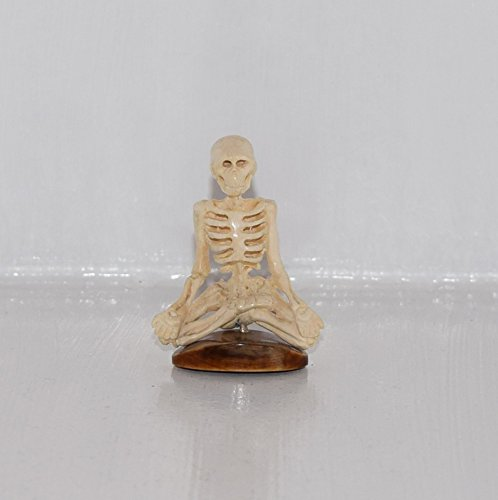 Hand Carved Skeleton Yogi From Genuine Mammoth Ivory -