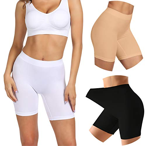 SIMIYA Slip Shorts, 3 Pack Women's Comfortable Seamless Smooth Panties Slip Shorts for Under Dresses(Black+White+Nude,Medium)