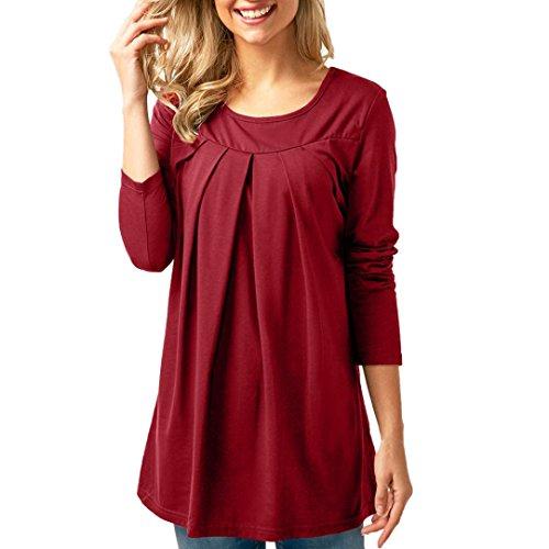 Collo Solid Top Donna a Donna shirt Camicia di Camicetta O Casual maniche a Elecenty Fashion Vino Rosso Moda T lunghe pieghe x0AzzU