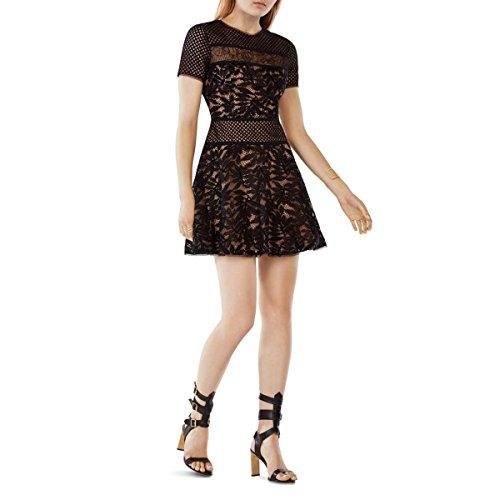 BCBG Max Azria Womens Lace Crochet Trim Cocktail Dress Black (Bcbg Crochet Dress)