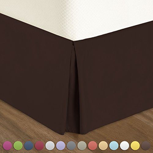 """Nestl Bedding Pleated Bed Skirt - Luxury Microfiber Dust Ruffle, 14"""" Tailored Drop, King, (Bedskirt Solid Chocolate)"""