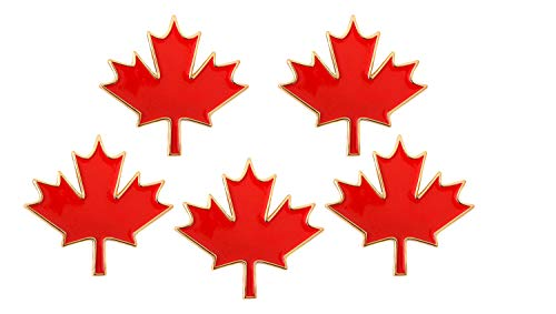 Rhungift 5Pack Proudly Canada Flag Pin Maple Leaf Jewelry Quality Gold Enamel Canadian National Lapel ()