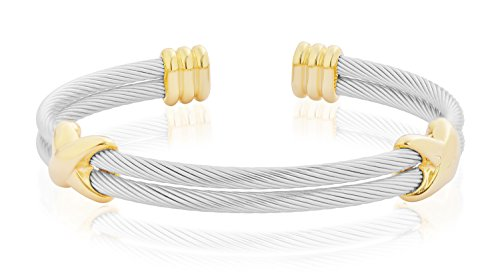 Gold Twisted Bracelet (Edforce Stainless Steel Women's Bangle Bracelet Cuff Celtic Gold 14 k Gold cuff bracelet Twisted Rope Cable Linking Accents (Silver on Gold with Double Cable)