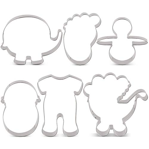 LILIAO Baby Shower Cookie Cutter Set - 6 Piece - Pajama, Baby Carriage, Cute Elephant, Swaddled Baby, Footprint and Pacifier Cutter Shape - Stainless Steel