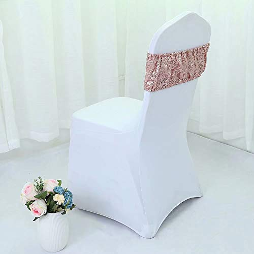 Custom Chair Sashes - Zdada Packs of 30 Rose Gold Sequin Spandex Chair Sash,Elastic Chair Bands for Wedding Party Decor