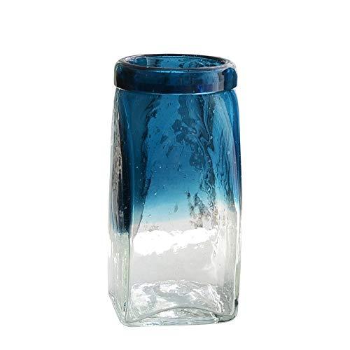 正方形のガラス花瓶/手作りの花瓶/底の肥厚/青と白 SHWSM (サイズ さいず : 7×10×26cm) B07S2P5D4M  7×10×26cm