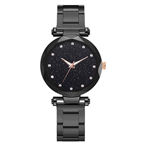 Winsope New Hot Sale Sleek Minimalist Starry Sky Multi-Faced concave dial Ladies Steel Belt Quartz Watch(Black)