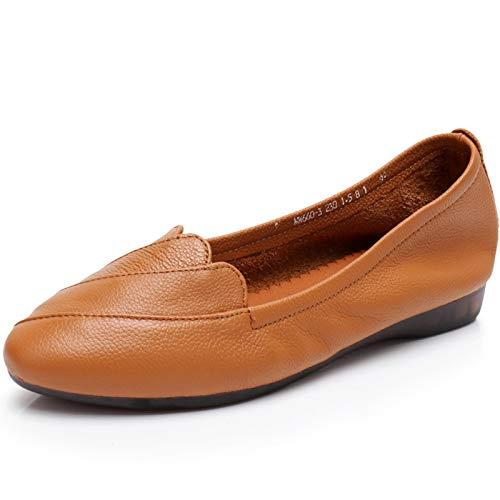de Zapatos FLYRCX Ocasionales la Casual Las Embarazadas yellow de de Antideslizante Zapatos y Suela Mujeres otoño Suave Cuero de Primavera Trabajo de Las Zapatos de de Zapatos señoras Manera UYpRfr4qY