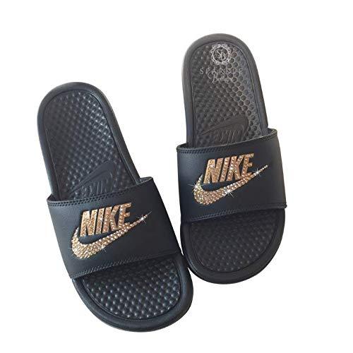 582c4b7e4 Nike Blinged Out Slides for Women - Bling Swarovski Bedazzled Kicks - NIKE  Benassi JDI Slides