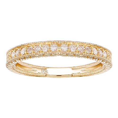 (10k Yellow Gold Vintage-Style Engraved Diamond Wedding Band (1/5 cttw, I-J, I2-I3))