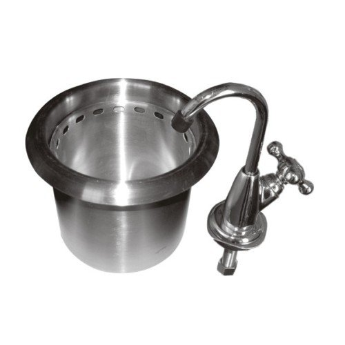ACE Stainless Steel Drop in Round Dipperwell Sink with No Lead Faucet ()