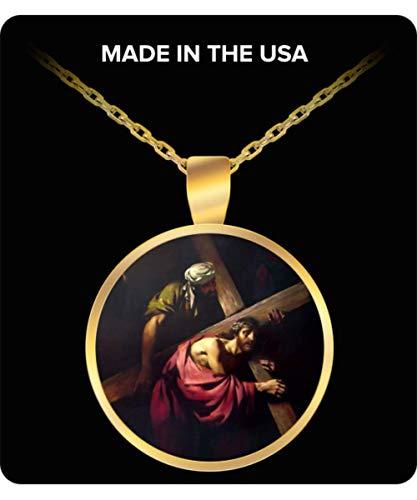 Schur-Link Brands Jesus Carries His Cross Gold-Plated Pendant Necklace