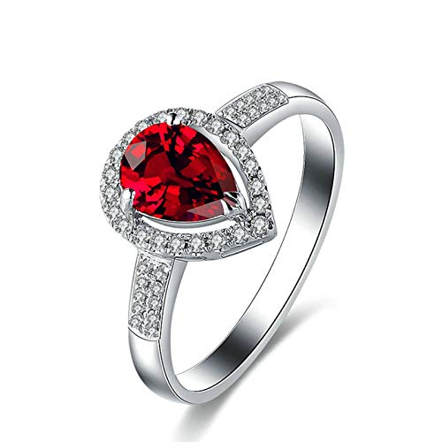 MoAndy White Gold 18K Rings Women Jewelry Anniversary Rings for Women Ruby 1.01ct & Diamond Red Size 8 ()