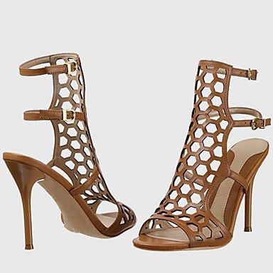 LvYuan Mujer-Tacón Stiletto-Otro Zapatos agujero-Sandalias-Oficina y Trabajo Vestido Informal Fiesta y Noche-Semicuero-Negro Marrón Plata Oro Black