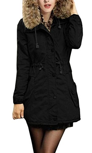 Yeesea Mujer Abrigos Largos de Piel con Capucha de Chaqueta de Invierno Parka Outwear Jacket Mantel Negro