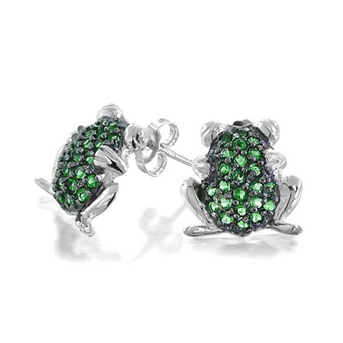Garden Green Frog Todd Cubic Zirconia Pave CZ Stud Earrings For Women For Teen 925 Sterling ()