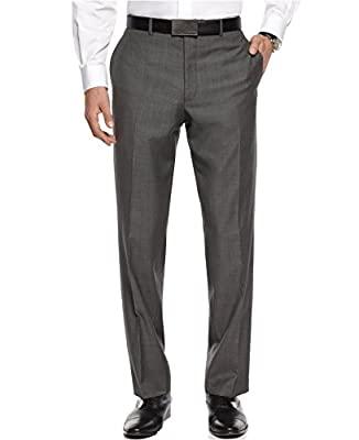 Calvin Klein Slim Fit Grey 100% Wool Textured New Men's Dress Pants (38W x 30L)