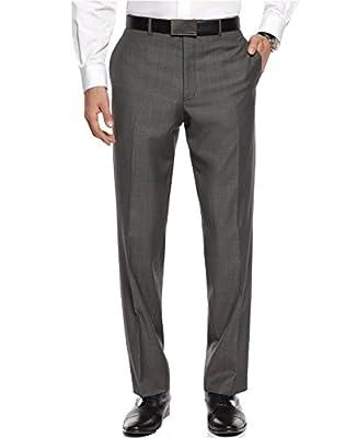 Calvin Klein Slim Fit Grey 100% Wool Textured New Men's Dress Pants (38W x 30L)