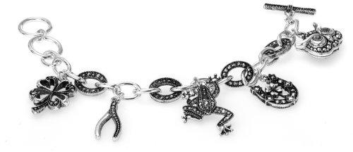 Lucky Horseshoe Wish Stone - Jewelry Nexus Lucky Theme Wish Bone Clover Owl Horseshoe Frog Black Stone Textured Toggle Bracelet