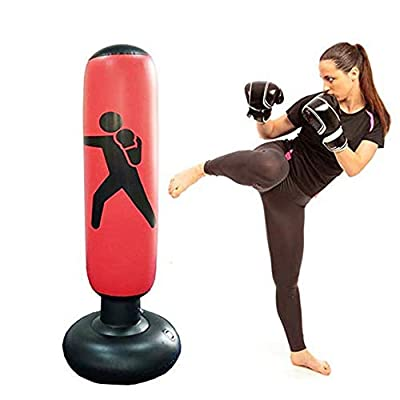 Katewolf Punching Bag for Kids, Inflatable Punching Toy Stand Up Punching Bag, Kids Punching Bag Bounce Back, Boxing Inflatible Punching Bag, MMA Training Target Bag, Kickboxing Bag-63 inch (A): Sports & Outdoors