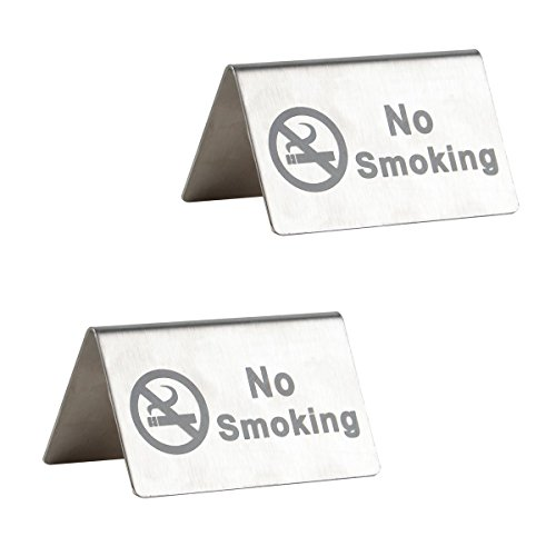 ushed Stainless Steel Free Standing Table Top Tent Compliance Signs - Double Sided - 4 By 2.5 Inch - Set of 2 ()