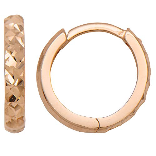 14k Gold Diamond-Cut Reversible Small Huggie Hoop Earrings (2.25mm Thick), 12.5mm (14k Rose Gold) ()