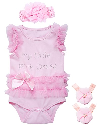 (Little Fancy 3 Pieces Baby Girls' Lace Tutu Dress Bodysuit with Headband and Foot Jewelry (Pink, 12-18 Months))
