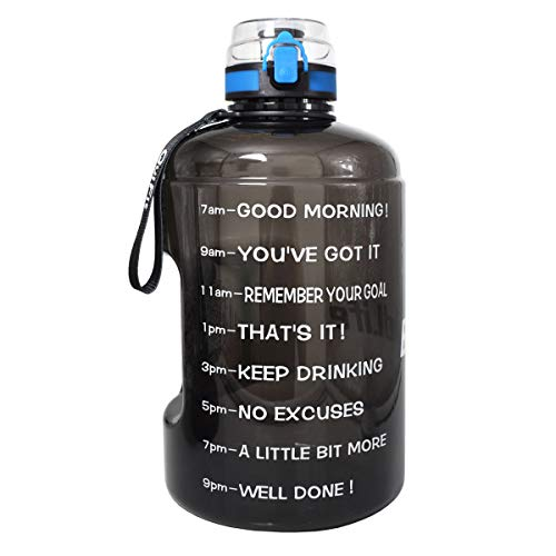 QuiFit Gallon Water Bottle with Motivational Time Marker,Wide Mouth Fast Flow, Locking Flip-Flop Lid,BPA Free,128,73,43 oz,Large Capacity Outdoors Sport Water Jug (Black, 128 oz) (Recyclable Water Jug)