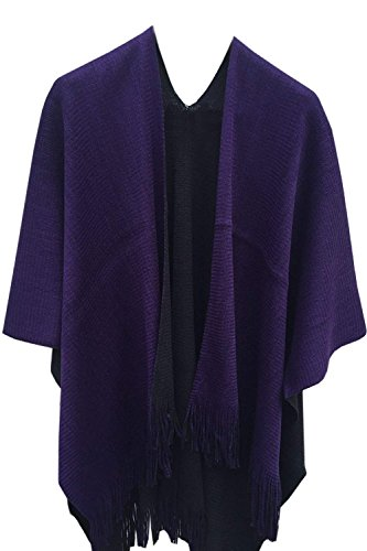 Timemory Womens Winter Solid Knitted Cashmere Poncho Capes Shawl Sweater Purple ()