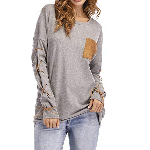 Aniywn 2019 New Long Sleeve, Women Casual Strappy Long Sleeve Daily Loose Sweatshirts Solid Tops with Pocket Gray (Best Duvet Cover 2019)