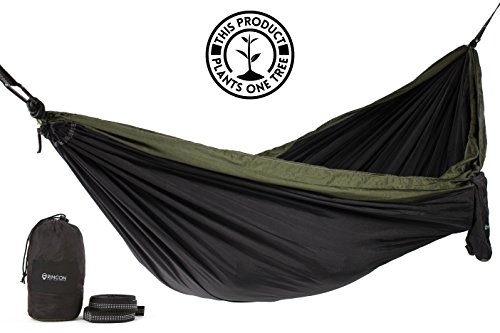 Rincon Camping Hammock with Tree Straps, Indoor Outdoor, Travel, Portable, Backpack, Double Parachute Hammock with Bag - Tactical Black & Green ()