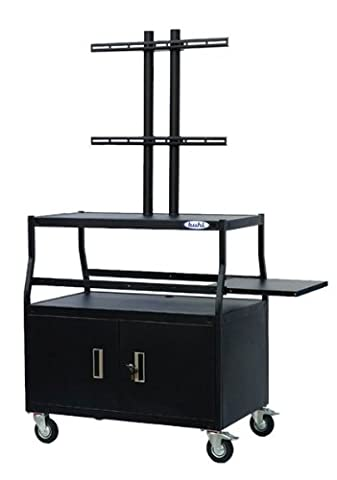 Flat Panel AV Cart with Locking Cabinet, Holds up to 55